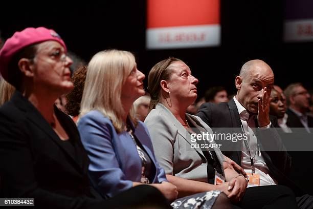 British Labour Party member of parliament Stephen Kinnock reacts as Labour Party member of parliament Rachel Reeves speaks in honour of murdered...