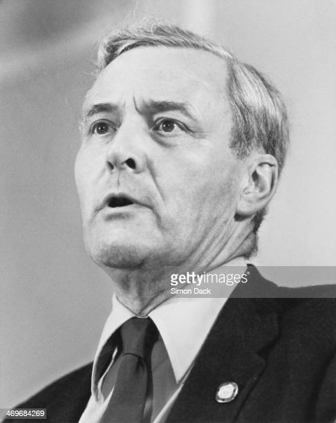 British Labour Party MP Tony Benn addressing a meeting organized by the Rank and File Mobilising Committee for Labour Democracy Brighton 2nd...