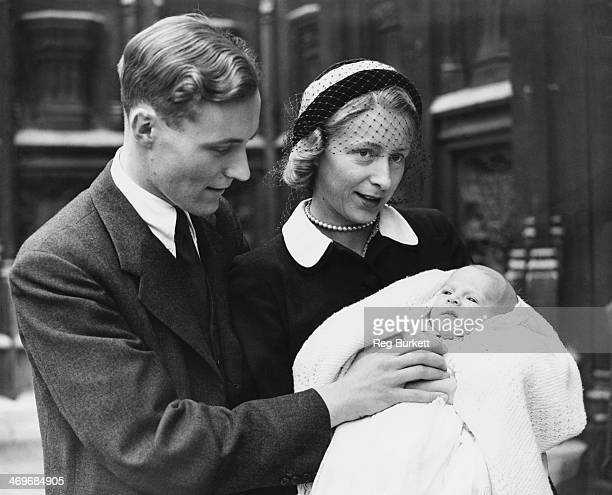 British Labour Party MP Tony Benn with his wife Caroline and their second son Stephen after his christening at the House of Commons crypt London 4th...