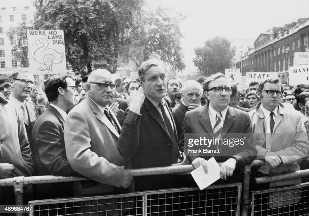 British Labour Party MP Tony Benn with some of the 400 shipyard workers from the Upper Clyde Shipbuilders consortium who are marching on Downing...