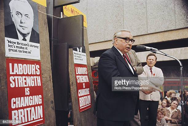 British Labour Party politician and Deputy Prime Minister George Brown pictured campaigning for the Labour Party under Harold Wilson and speaking to...