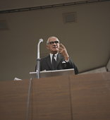 British Labour Party politician and Foreign Secretary Michael Stewart pictured addressing the Labour Party Annual Conference from the platform in...