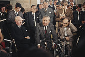 British Labour Party politician and Home Secretary James Callaghan pictured centre at a press conference with Ralph Grey Governor of Northern Ireland...