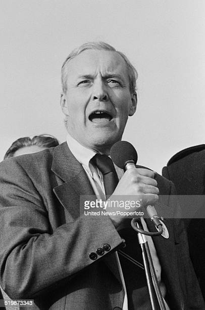 British Labour Party politician and Member of Parliament for Bristol South East Tony Benn addresses a crowd of protesters in Hyde Park London...