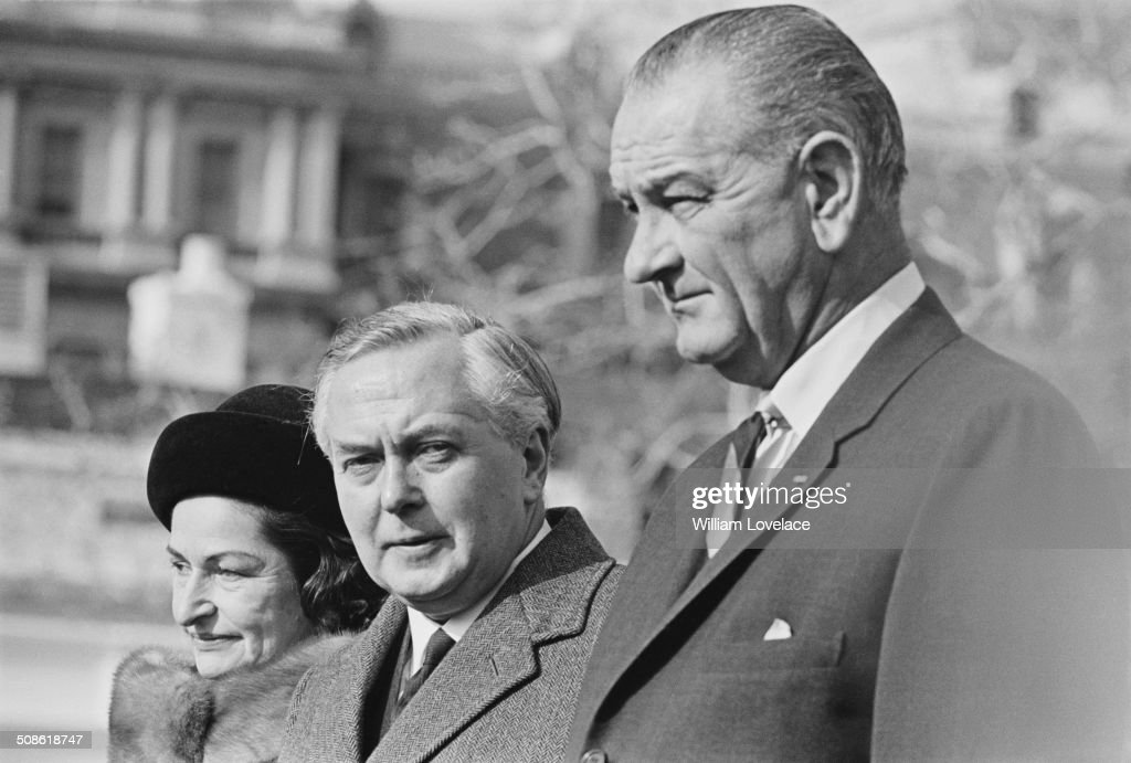 British Labour Party politician and Prime Minister, Harold Wilson (1916 - 1995) with President Lyndon B. Johnson and his wife, Lady Bird Johnson (1912 - 2007), USA, 1964.