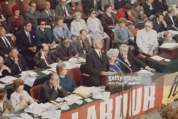 British Labour Party politician and Prime Minister of the United Kingdom Harold Wilson makes a speech from the platform at the Labour Party annual...
