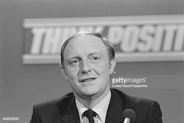 British Labour Party politician and Shadow Secretary of State for Education Neil Kinnock pictured at a Labour Party preelection press conference in...
