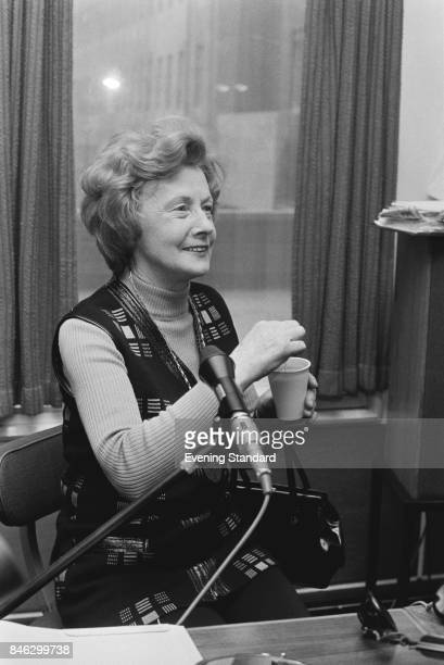 British Labour Party politician Barbara Castle appears as a guest on Jimmy Young's BBC radio show 6th January 1975