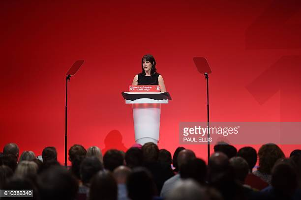 British Labour Party politician Rachel Reeves speaks in honour of murdered Labour MP Jo Cox on the first day of the Labour Party Conference in...