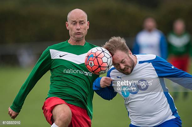 British Labour Party politician Stephen Kinnock competes in the annual football match between the Labour Party and journalists on the first day of...