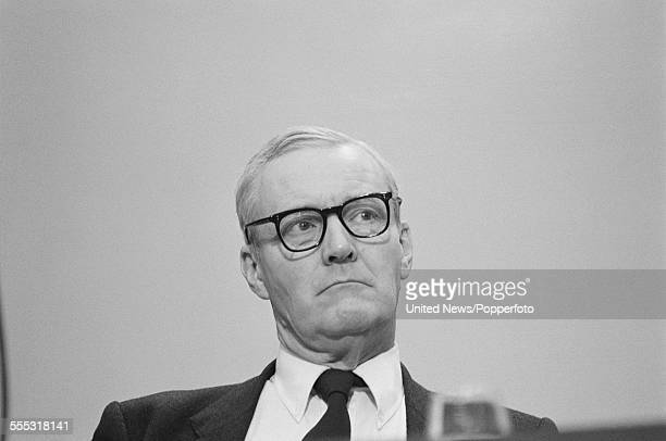 British Labour Party politician Tony Benn pictured sitting on the platform at the annual Labour Party conference in Brighton England on 4th October...