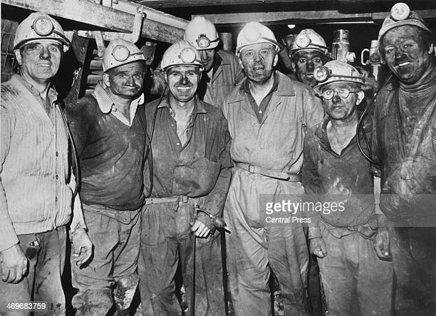 British Labour Party Secretary of State for Energy Tony Benn with miners during a visit to the Parkside Colliery in NewtonleWillows Lancashire 21st...