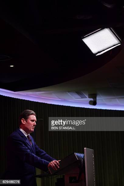 British Labour Party Shadow Secretary of State for Exiting the European Union Keir Starmer delivers a speech on Labours priorities for Brexit...