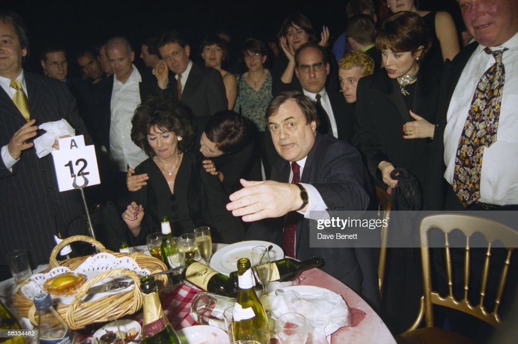 British Labour politician John Prescott and his wife Pauline Prescott, having just been doused with cold water by Danbert Nobacon of Chumbawumba at the Brit Awards, February 1998.