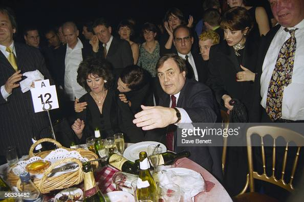 British Labour politician John Prescott and his wife Pauline Prescott having just been doused with cold water by Danbert Nobacon of Chumbawumba at...