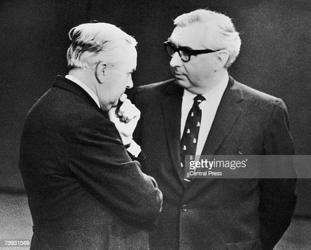 British Labour Prime Minister Harold Wilson with Foreign Secretary George Brown at Victoria Station London 1st November 1967 The pair are awaiting...