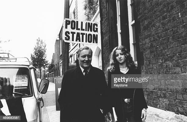 British Labour Secretary of State for Industry Tony Benn and his daughter Melissa arriving at a polling station in Portobello Road London to cast...