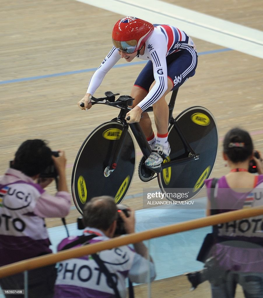 British Laura Trott competes for the silver during Women's 500m Time Trial event of the Omnium final of the UCI Track Cycling World Championships in Minsk on February 24, 2013. AFP PHOTO / ALEXANDER NEMENOV