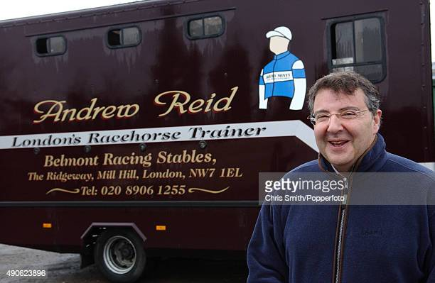 British lawyer and race horse trainer Andrew Reid with his horse box at the Belmont racing stables in Mill Hill London 24th March 2005
