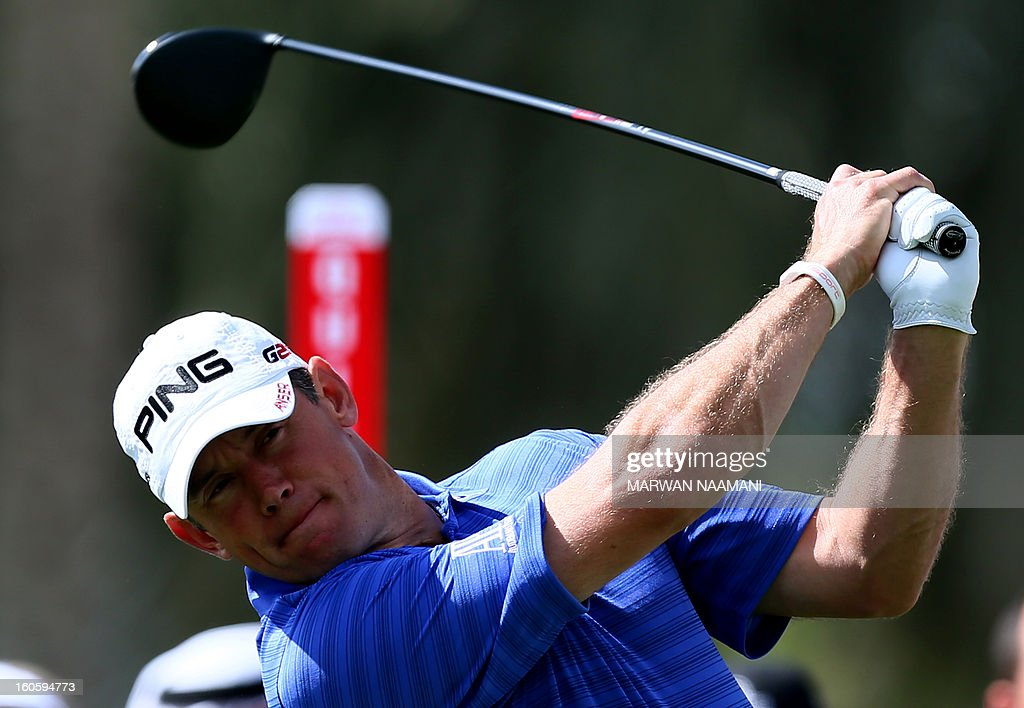 British Lee Westwood tee off on the fourth and last round of the Omega Dubai Desert Classic in Dubai, on February 3, 2013. Stephen Gallacher of Scotland fired a timely eagle two on the par-4 16th hole and comfortably won the $2.5 million Omega Dubai Desert Classic in the end by three shots.