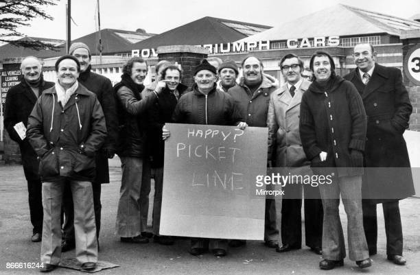 British Leyland Pickets out in force at the Triumph plant in Canley Coventry 27th February 1979