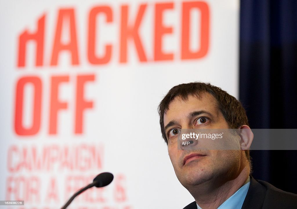 British Liberal Democrat politician Evan Harris attends a Hacked Off press conference in London, on March 18, 2013, following the cross-party agreement on a new system of newspaper self-regulation that resulted from negotiations sparked by the Leveson Inquiry's review of press standards. Hacked Off, a campaign group that advocates for victims of press abuse, welcomed the cross-party agreement on implementing the Leveson recommendations on press self-regulation.