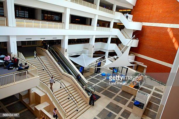 British Library interior showing staircases and entrance gallery