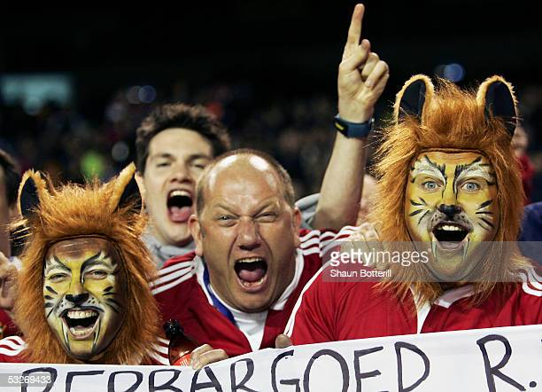 British Lions fans pictured during the third test match between New Zealand and the British and Irish Lions at Eden Park on July 9 2005 in Auckland...