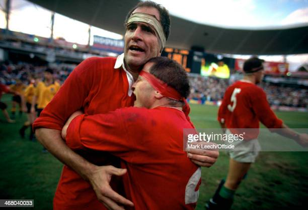 British Lions Rugby Union Tour Australia v British Lions 3rd Test Sydney Brian Moore hugs Paul Ackford as the Lions celebrates victory over Australia