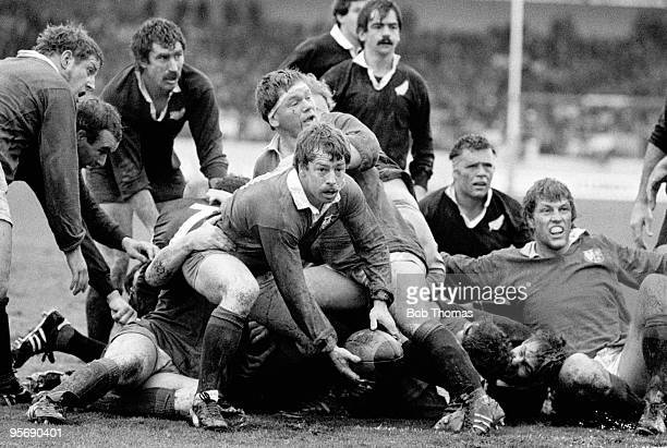 British Lions scrumhalf Roy Laidlaw gets the ball out to the backs during the 3rd Test Match against the All Blacks held at Carisbrook in Dunedin on...