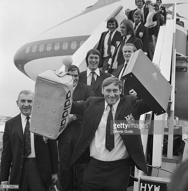 British Lions skipper Willie John McBride is the first off the plane at Heathrow Airport at the end of a successful tour of South Africa 30th July...