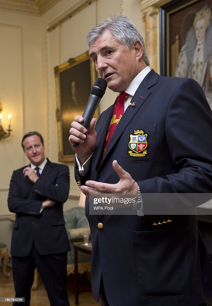 British Lions Tour Manager Andy Irvine speaks during an official reception at Downing Street on September 16, 2013 in London, England. The reception was to mark the British Lions victorious tour of Australia in the summer.