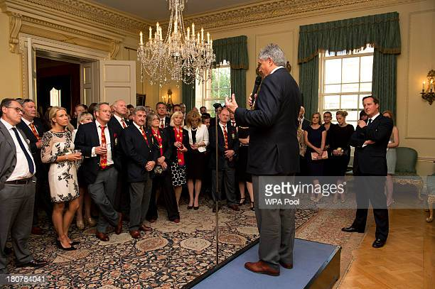 British Lions Tour Manager Andy Irvine speaks during an official reception at Downing Street on September 16 2013 in London England The reception was...