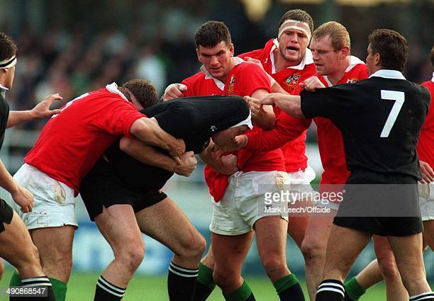 British Lions Tour to New ZealandNew Zealand v British Lions Martin Johnson and Dean Richards scrap with the NZ pack