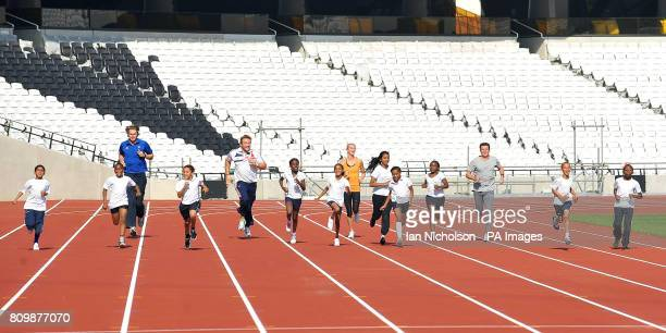 British Long Jumper Chris Tomlinson Paralympic gold medalist Dan Greaves IAAF World Championships silver medalist Hannah England and LOCOG Chairman...