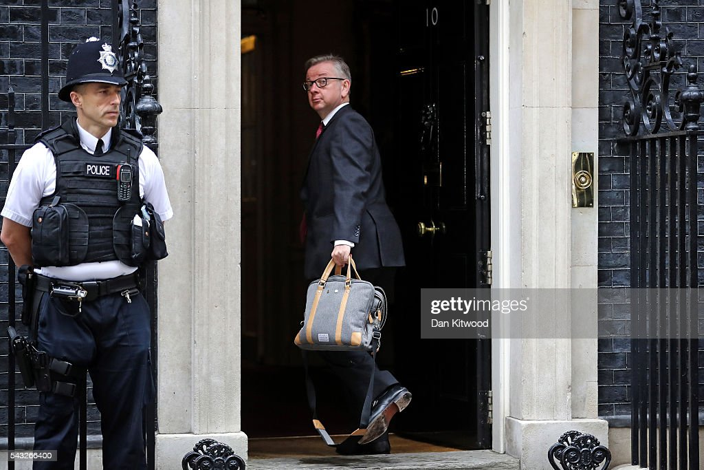 British Lord Chancellor and Justice Secretary <a gi-track='captionPersonalityLinkClicked' href=/galleries/search?phrase=Michael+Gove&family=editorial&specificpeople=2223709 ng-click='$event.stopPropagation()'>Michael Gove</a> arrives for a cabinet meeting at Downing Street on June 27, 2016 in London, England. British Prime Minister David Cameron is due to chair an emergency Cabinet meeting this morning, after Britain voted to leave the European Union. Chancellor George Osborne spoke at a press conference ahead of the start of financial trading and outlining how the Government will 'protect the national interest' after the UK voted to leave the EU.