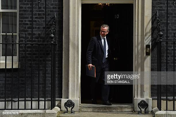 British Lord Chancellor and Justice Secretary Michael Gove leaves after attending a cabinet meeting at 10 Downing Street in central London on July 5...