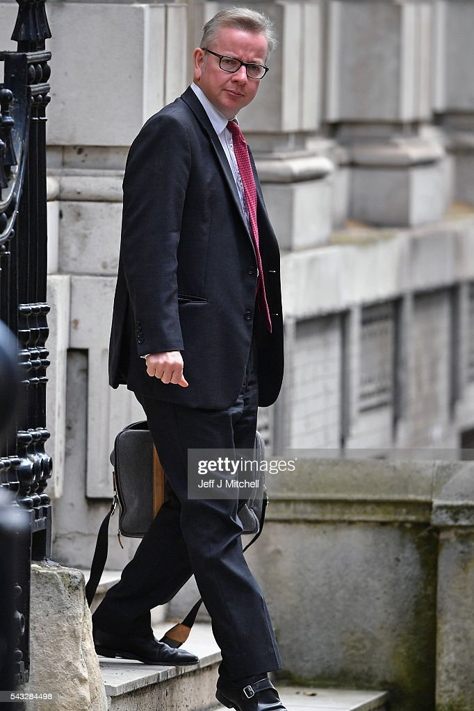 British Lord Chancellor and Justice Secretary <a gi-track='captionPersonalityLinkClicked' href=/galleries/search?phrase=Michael+Gove&family=editorial&specificpeople=2223709 ng-click='$event.stopPropagation()'>Michael Gove</a> leaves Downing Street following a cabinet meeting on June 27, 2016 in London, England. British Prime Minister David Cameron chaired an emergency Cabinet meeting this morning, after Britain voted to leave the European Union. Chancellor George Osborne spoke at a press conference ahead of the start of financial trading and outlining how the Government will 'protect the national interest' after the UK voted to leave the EU.