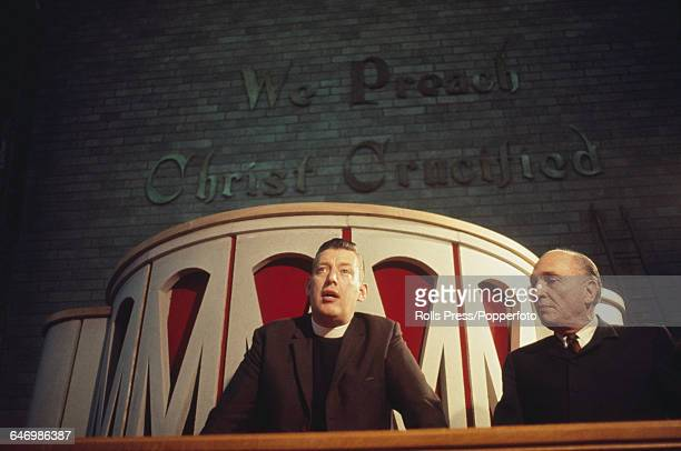 British loyalist politician religious leader and leader of the Protestant Unionist Party Ian Paisley pictured centre with Bob Jones Jr at the opening...