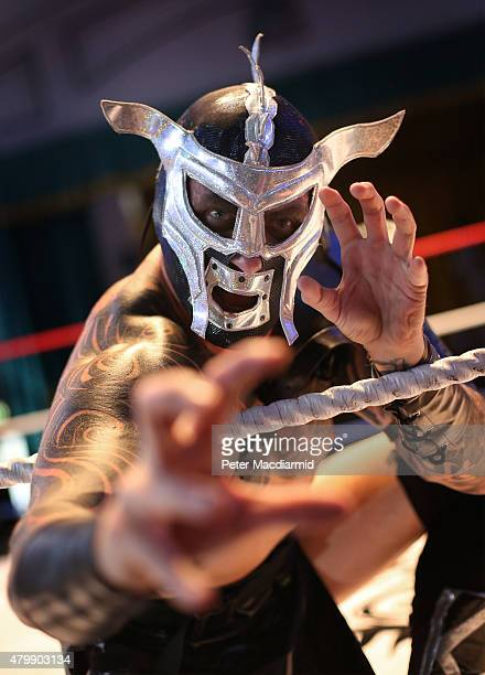 British Lucha Libre wrestler Metallico strikes a pose for the cameras at York Hall on July 8 2015 in London England Lucha Libre which translates as...