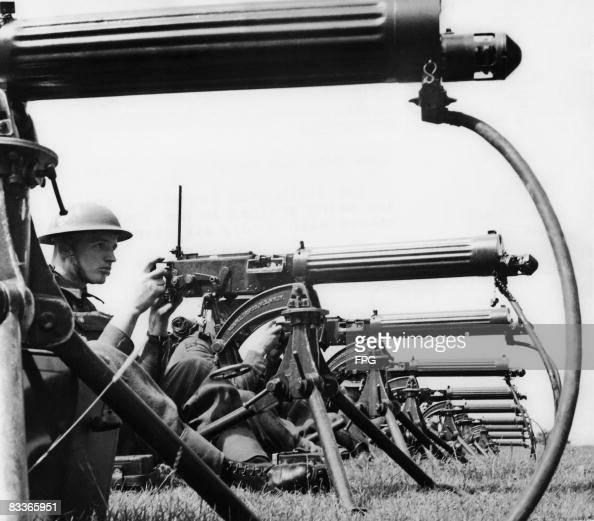 A British machine gun battalion in training with Vickers guns in southeast England circa 1940
