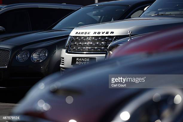 British made cars are pictured ahead of a photocall with executives from car manufacturing companies on September 10 2015 in London England Motor...