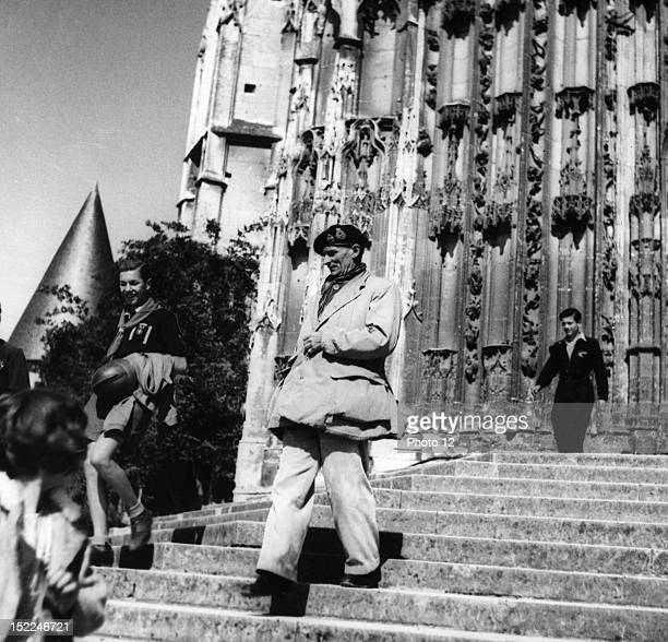 British marshal Montgomery leaving the cathedral of Beauvais north of France Liberation of France World War II Private Collection