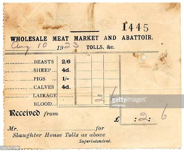 British meat market and abattoir receipt from 1923