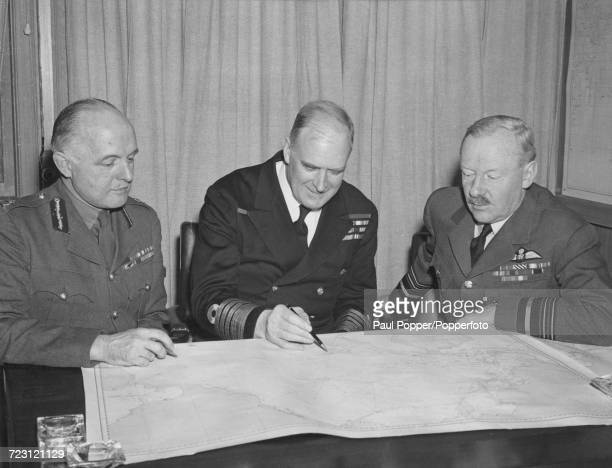 British members of the Combined Chiefs of Staff Group from left British Army General Colville Wemyss Royal Navy Admiral Charles Little and Air Chief...