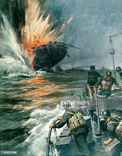 British merchant ship sunk by Italian MAS in the Mediterranean August 3 1941 By Achille Beltrame illustration from La Domenica del Corriere