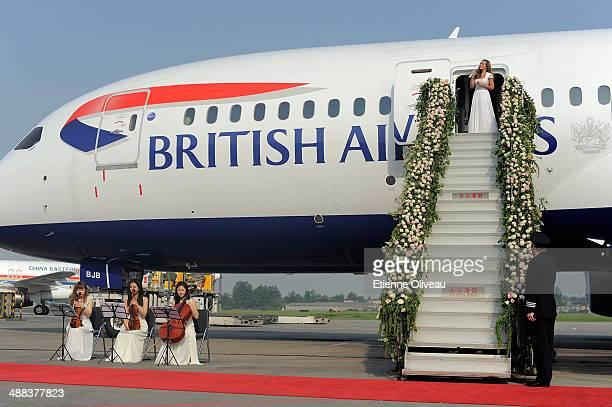 British mezzosoprano Katherine Jenkins performs the Leonard Cohen classic 'Hallelujah' on the flower adorned steps of British Airways new Boeing 787...