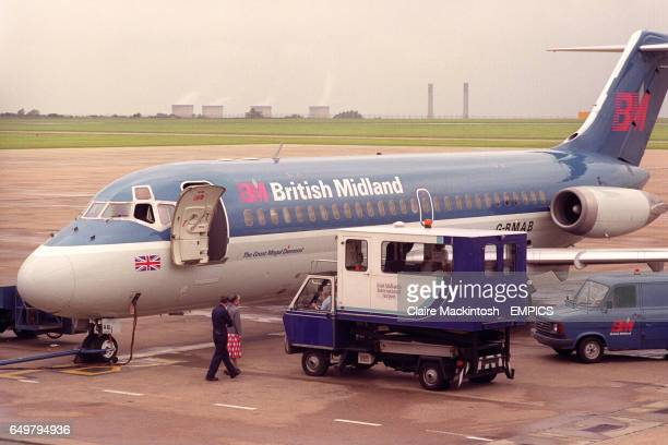 A British Midlands Boeing 737 has an emergency landing at East Midlands Airport after it was suspected a tyre had burst during takeoff at Belfast...