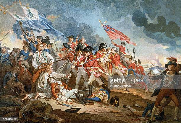 British military forces reach the top of Breed's Hill where they clash with colonial militia during the Battle of Bunker Hill in an illustration...