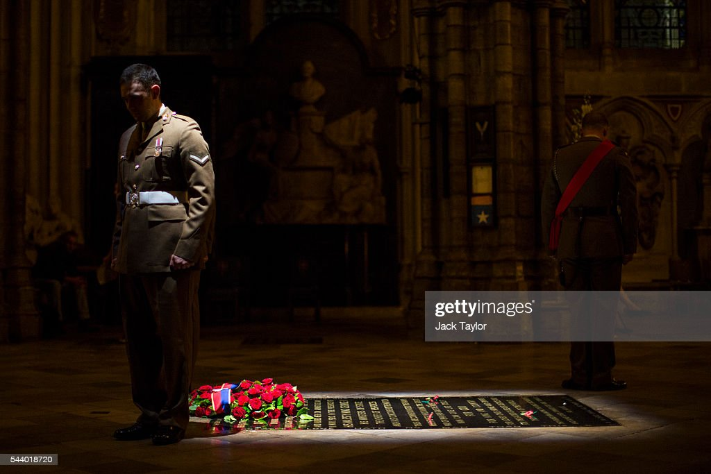 British Military personnel stand at the Grave of the Unknown Warrior during a vigil to commemorate the centenary of the Battle of the Somme at Westminster Abbey on July 1, 2016 in London, England. The overnight vigil is being held to remember those who died in the Battle of the Somme which began 100 years ago on July 1st 1916. Armies of British and French soldiers fought against the German Empire and over one million lives were lost. The Grave of the Unknown Warrior contains the body of an unidentified British solider from the First World War buried in French soil and covered with a Belgian marble slab.